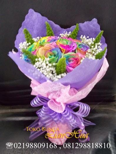 jual rainbow rose / mawar pelangi