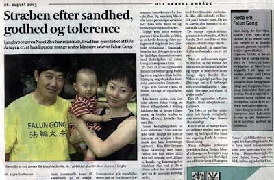(上图)丹麦《周末报》刊登的对朱学智一家的报导(文俊/大纪元)