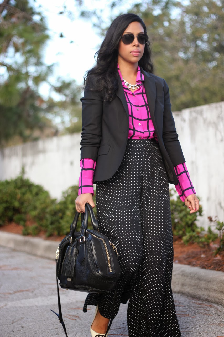 j crew windowpane pink orchid silk blouse zara polka dot wide leg pant gucci burberry accessories