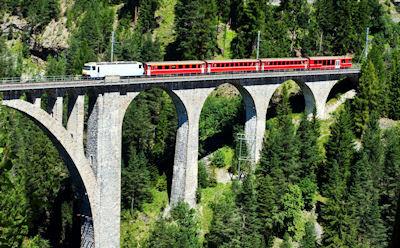 Tren pasando por un puente muy alto en Suiza