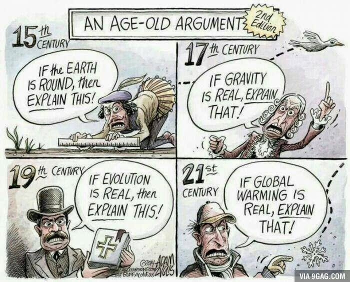 Image showing 15th century man denying that the earth is round by laying straight edge on ground, 17th century man denying existence of gravity by pointing at a bird, 19th century man denying evolution by waving the Bible, modern man denying climate change by pointing at snowflake.