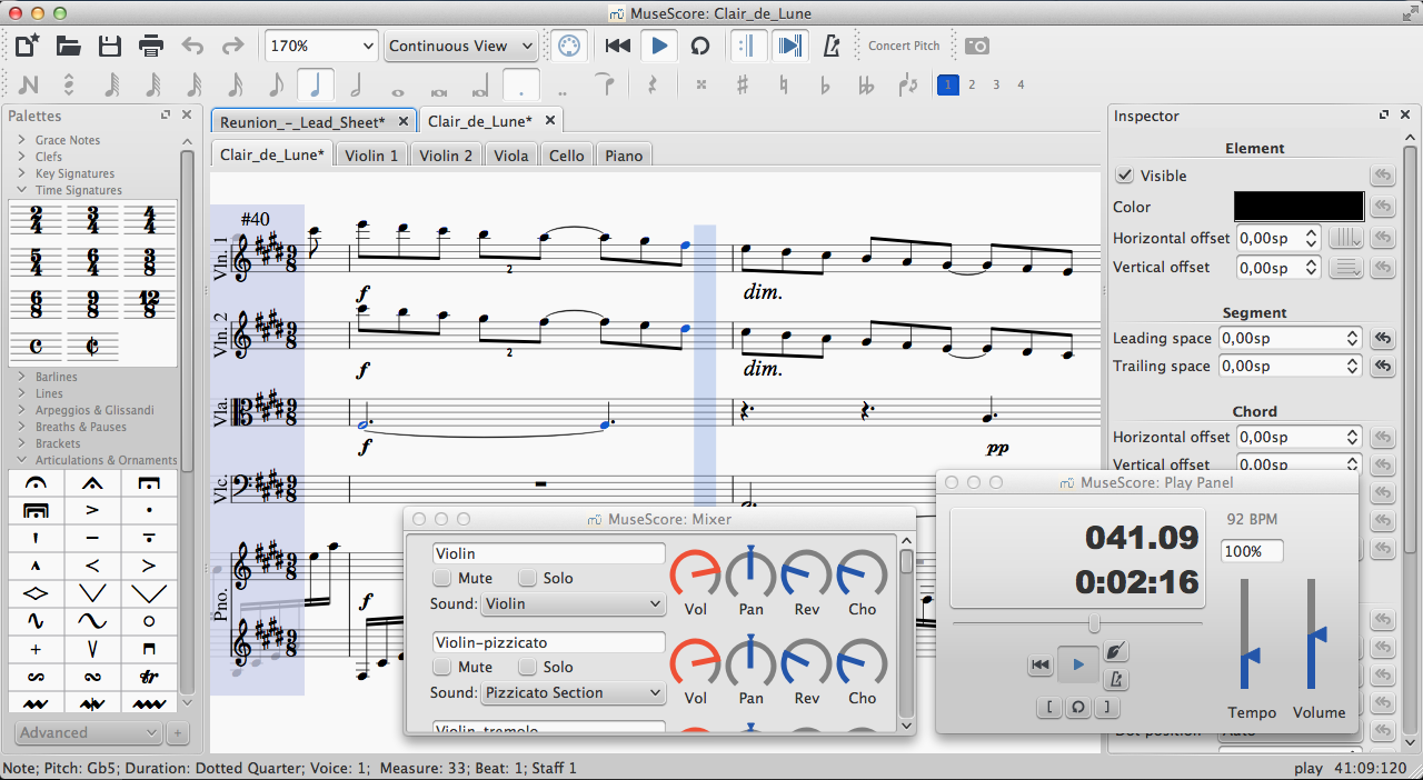 MuseScore Beta 2.0 screenshot featuring playback option windows