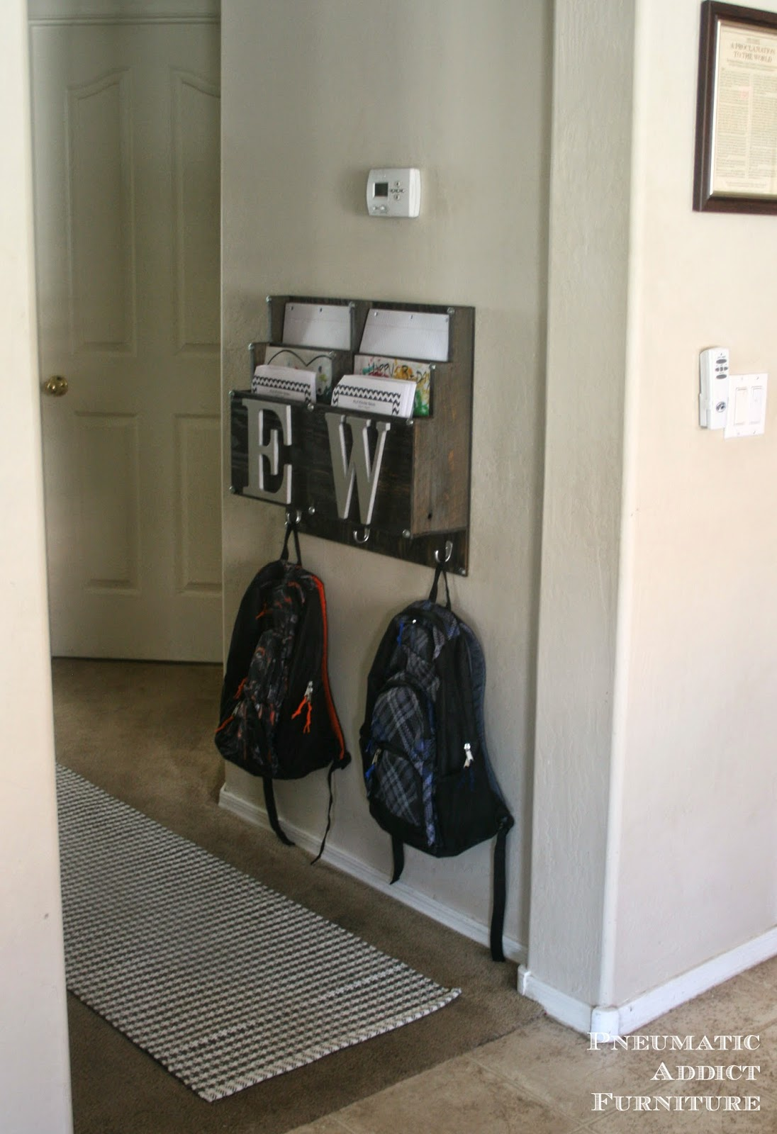 Pneumatic addict diy backpack and homework center Ideas for hanging backpacks