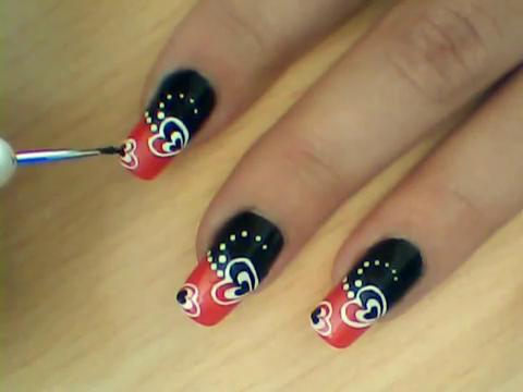 Manikir-obuka-tutorijal-3-(crveno-crni-nail-art-nokti)-014