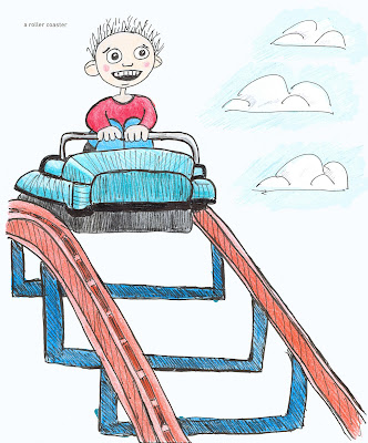 642 Things to Draw 29 - A Roller Coaster - Pen and Ink with Coloured Pencil by Ana Tirolese ©2102