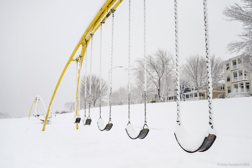 Portland, Maine Easter Promenade Playground Swing Set in Snow photo by Corey Templeton January 2014