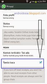 Update WhatsApp Android Terbaru - Mematikan Fitur Notifikasi Pesan Telah dibaca