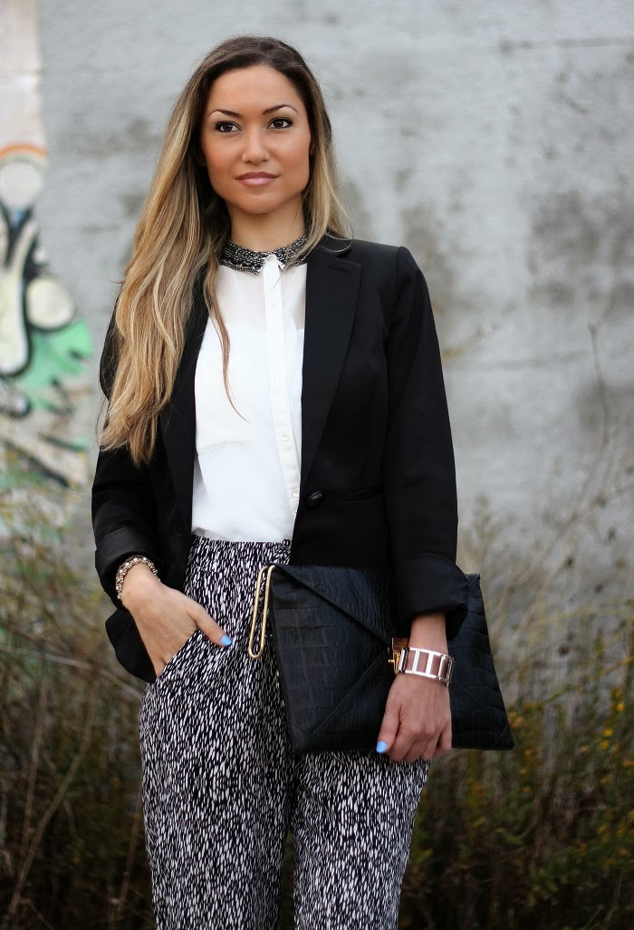blazer smoking black and white clutch animal print look do dia blog de moda style statement tendências outono inverno 2013 2014 moda fashion blogger