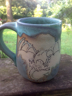 Handmade Ceramic Green Dragon Mug by Lori Buff