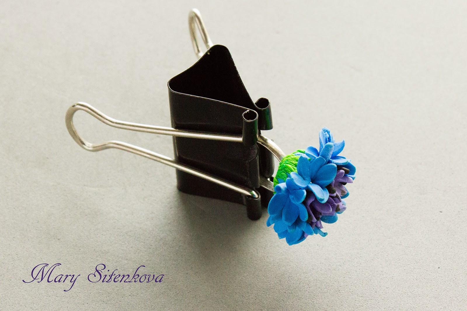 кольцо с цветком из полимерной глины