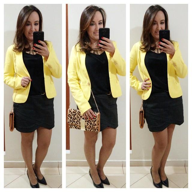 fast fashion, espiã de lojas fast fashion, blazer amarelo, short saia, look preto e amarelo, lojas renner, blog camila andrade, blog de moda em ribeirão preto, fashion blogger