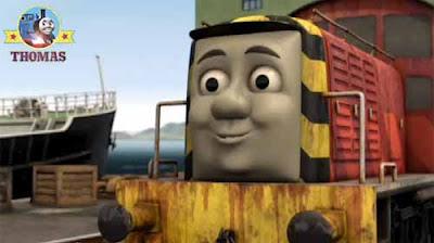 Thomas tank engine Salty the diesel train and cranky the crane at Sodor Brendam docks seaside port
