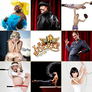 la soirée - clockwise from top left... le gateau chocolat, mario, the english gents, ursula martinez, yulia pykhtina, david o'mer, captain frodo, mooky