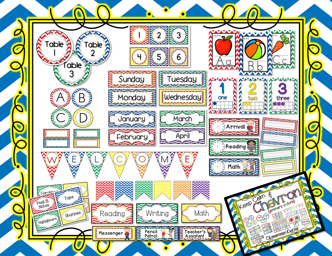 http://www.teacherspayteachers.com/Product/Keep-Calm-and-Chevron-Classroom-Decor-Bundle-Primary-Colors-Editable-734690