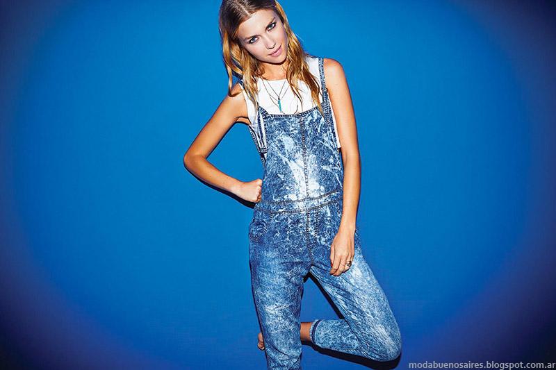 Enteritos de jeans primavera verano 2015, Cuesta Blanca moda casual urbana en ropa de mujer 2015.