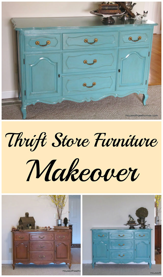 DIY tutorial on turning a thrift store buffet/dresser into a fun piece of furniture.  And who doesn't like turquoise!