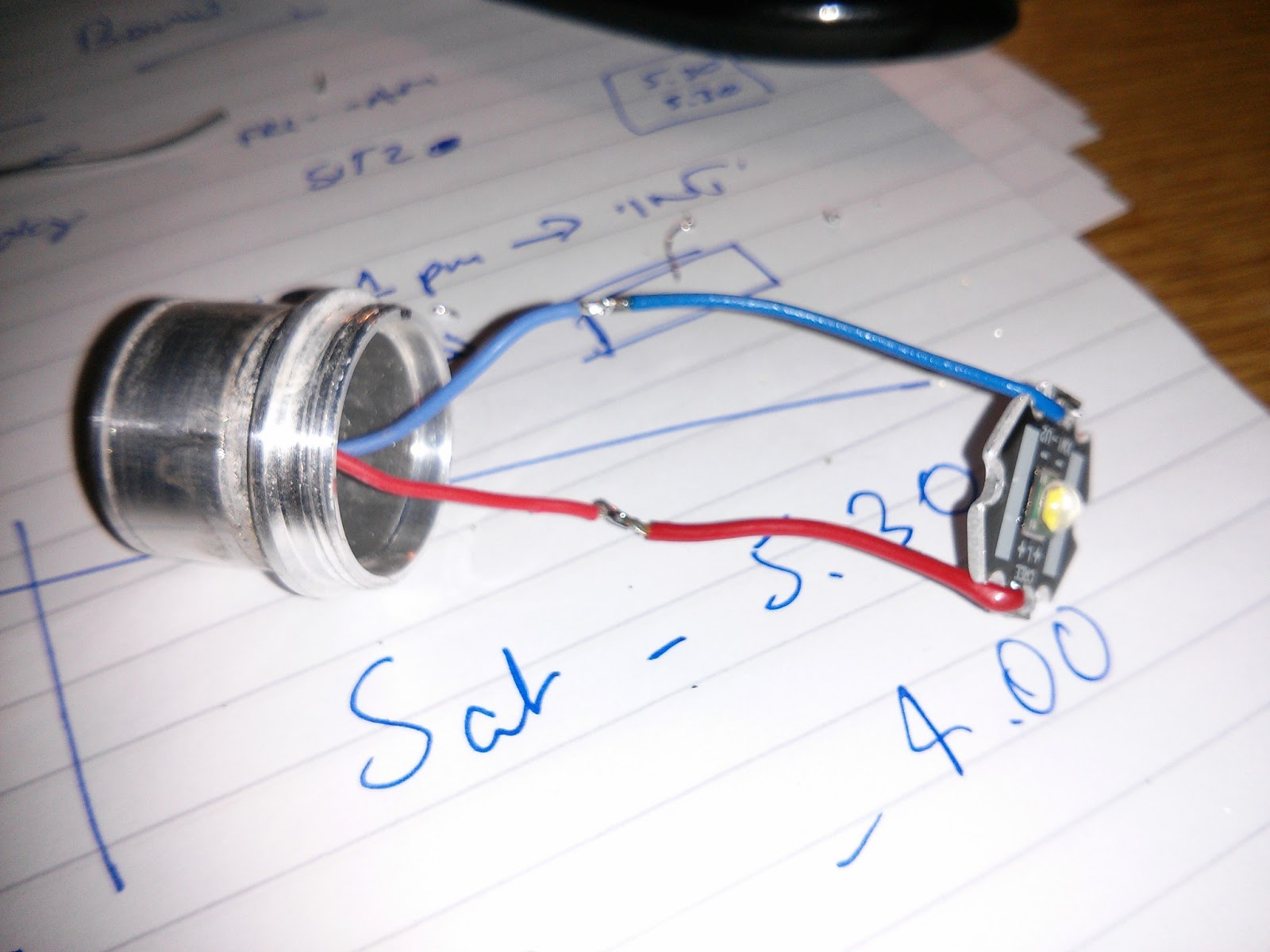 Johnohuks Ramblings Diy Underwater Video Light For My Sony Action Cam A Circuit Diagram Of Torch I Unsoldered The Original Wires From Led Pcb Found Some New Cable Same Colour Multi Core And Soldered Them Up Like Above