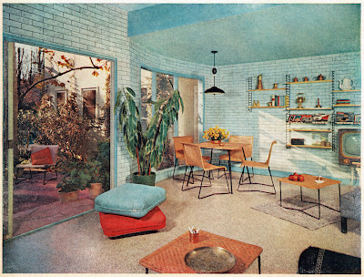 Mid-century living dining room with blue walls