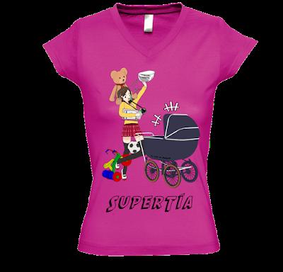 "Camiseta manga corta para mujer ""SuperTía"" color fucsia"