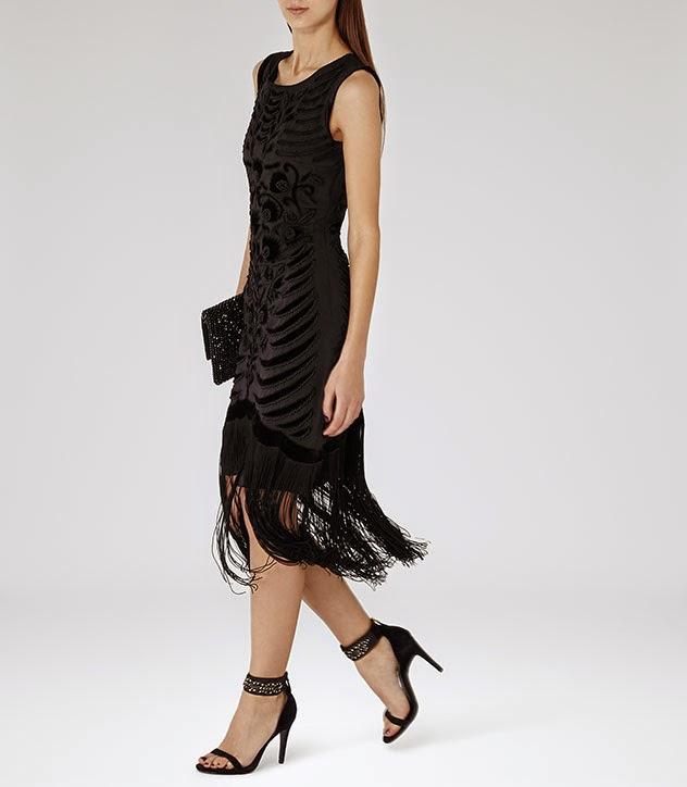 reiss black dress, reiss dress with fringed hem, fringe dress,