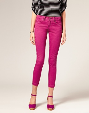 pink coloured jeans
