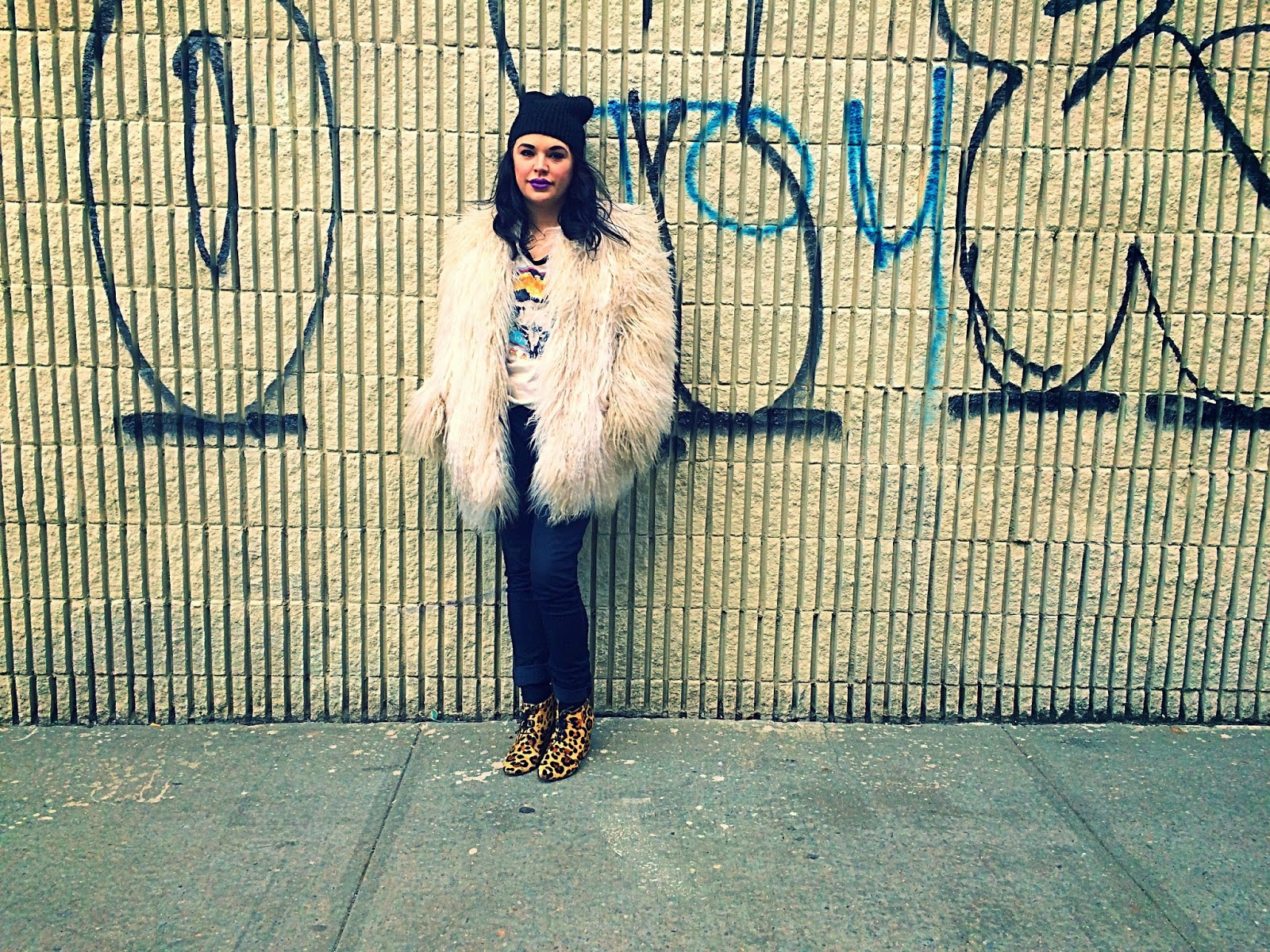 Olivia Inkster, rock n roll inspiration, vintage shag rocker, Brooklyn rocker outfit, NYC best bloggers, Brooklyn graffiti wall art, rocknroll fur coat, leopard booties with outfit, kate spade outfit leopard, girl in black beanie, hipster black beanie, Williamsburg Brooklyn