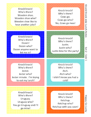 Knock Knock Jokes Lunch Box Notes Free Printable