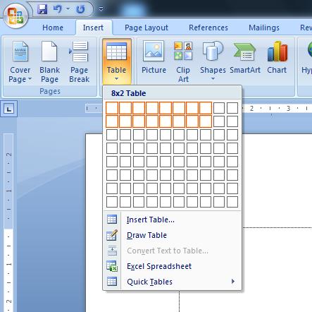 Cara Mudah Membuat Tabel di Word 2007