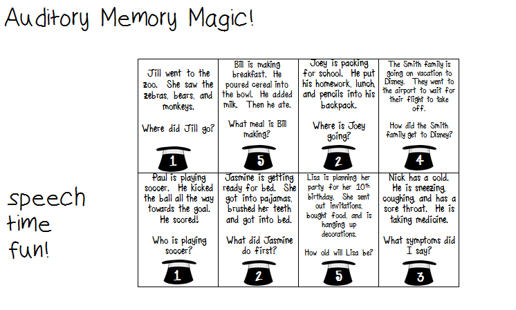 Printables Auditory Memory Worksheets auditory memory magic whats the word students will pick a card with on it they have 5 seconds to readhear and then must place down