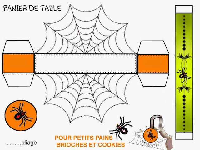 Spider Web: Free Printable Basket for Halloween.