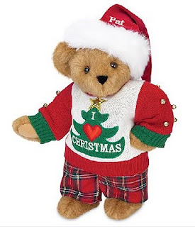 Cute teddy bear with nice clothes of X mas tree with I love Christmas caption on shirt picture