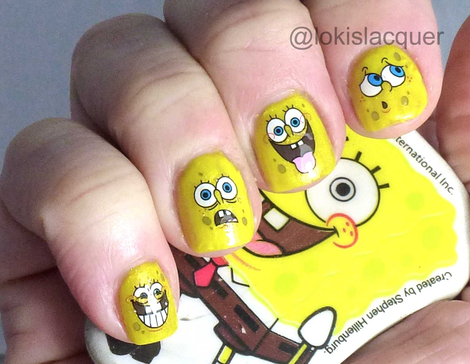 Lokis Lacquer Spongebob Nail Decals From Born Pretty Store Review - Spongebob nail decals