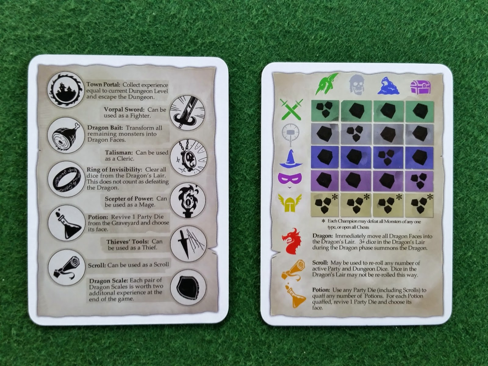 Dungeon Roll Help Cards