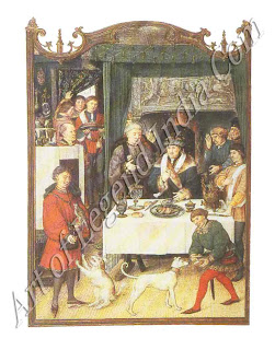 The pleasures of the table, The well-to-do merchant middle class of 14th century Bruges drank and ate well, as this illustration from a Flemish Book of Hours shows.