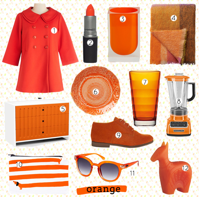 collage of orange home decor and fashion items