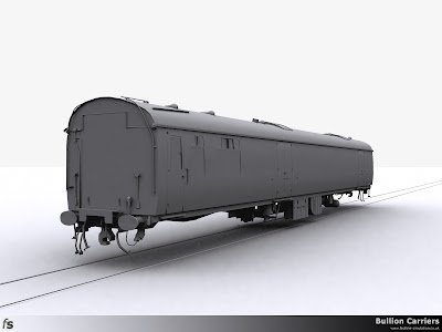 Fastline Simulation - Bullion Carriers: An in development render of the NWX Bullion Van for Train Simulator 2013. The completed body and under frame viewed from the saloon end and just waiting for bogies.