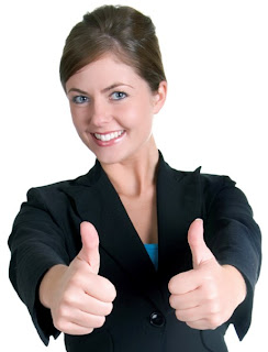 Caucasian female with thumbs up