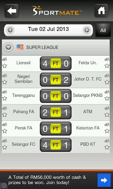 BOLASEPAK: Keputusan Penuh Liga Super Malaysia 2013 - 02/07/2013