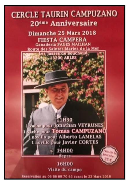 FRANCIA  25-03-2018.TOMAS CAMPUZANO TOREA UNA FIESTA CAMPERA PARA CELEBRAR SUS 20 AÑOS DE ALTERNATI