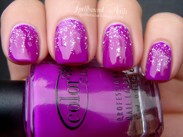 nails nailart nail art polish mani manicure Spellbound glitter Color Club Wet n Wild holographic raining purple neon