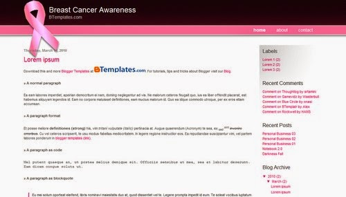 Breast Cancer Awareness - Free Blogger Template