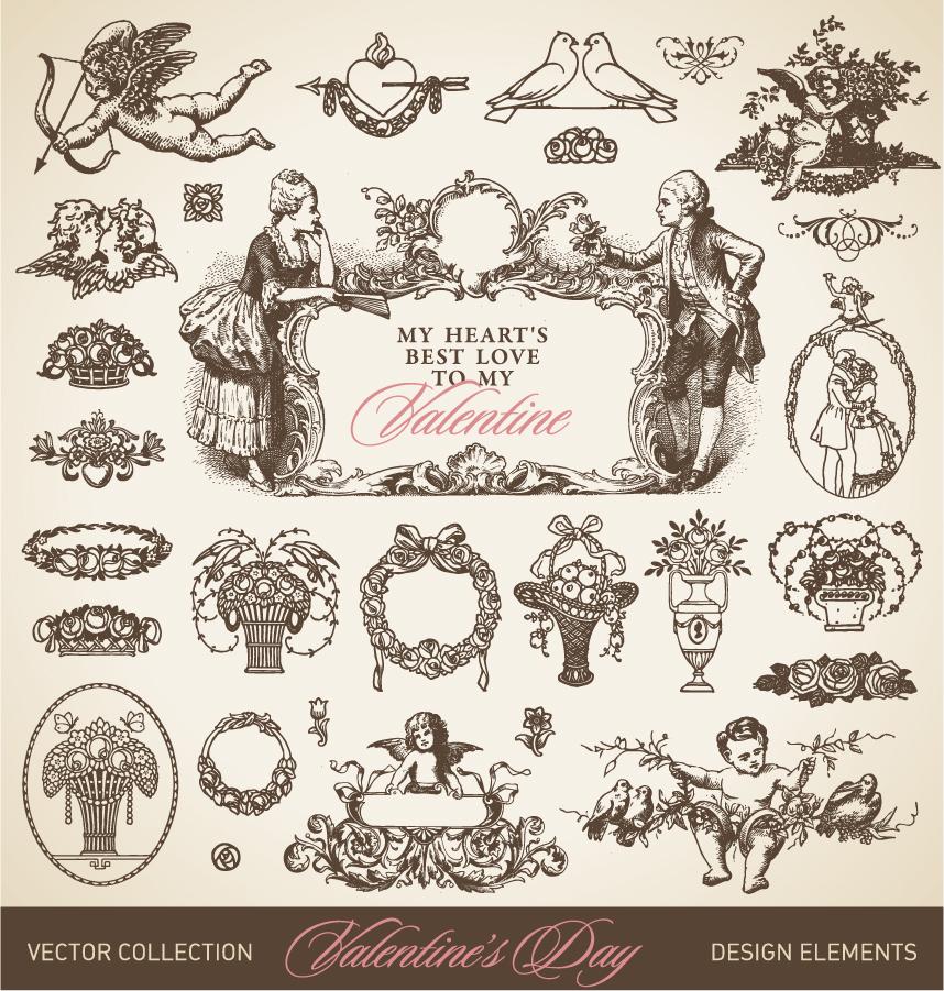 趣きのあるヴィンテージな飾り罫 european the pattern borders イラスト素材