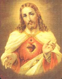 beautiful sacred heart of Jesus Christ with cross and Crown of thorns classic picture download Christian images for free