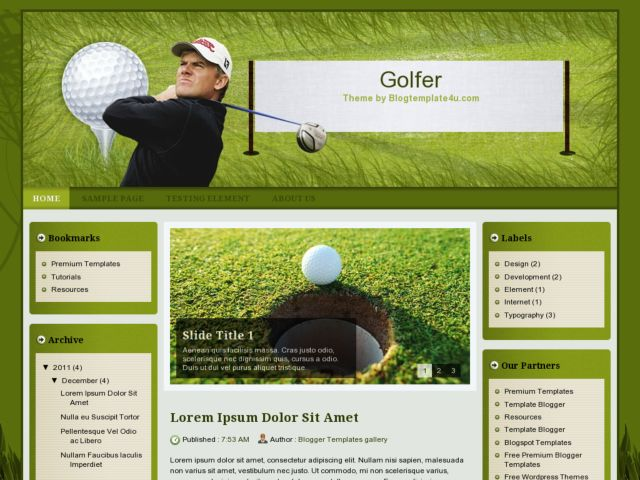 Golfer Blogger Template