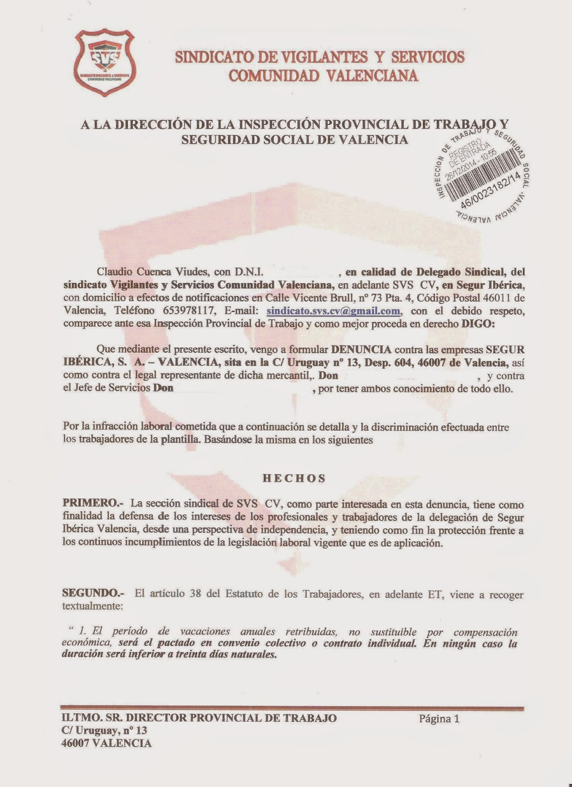 S V S CV Segur Ibérica Valencia: 2014