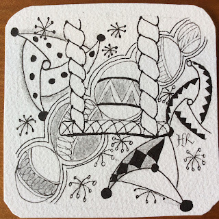 Zentangle, Diva Challenge #227, Twisted Rope, Jetties, Jesterz, Ahh, Light to go places!