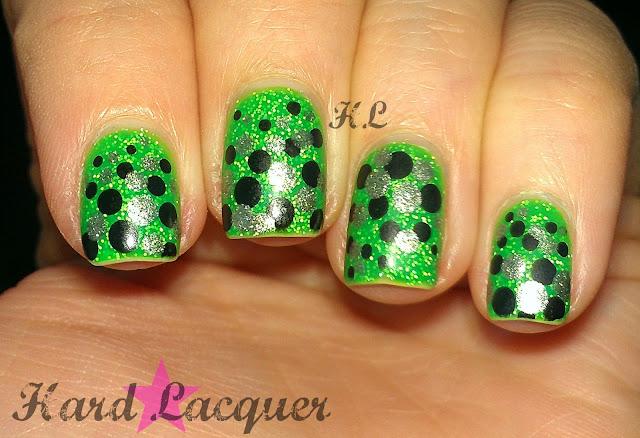 black silver green glitter dotticure dots