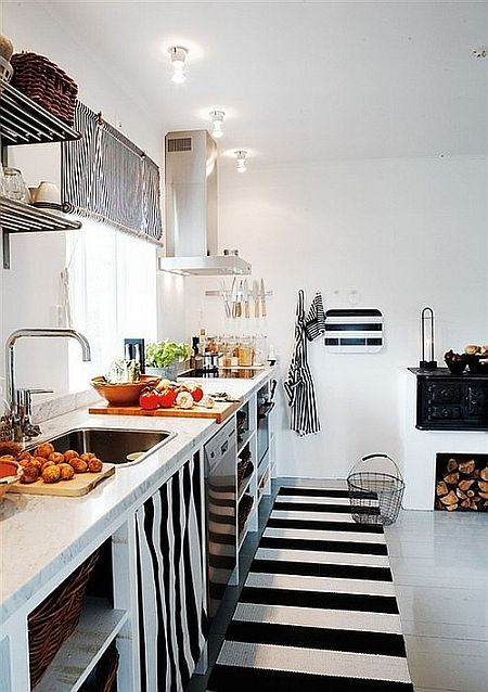 black and white stripes in kitchen