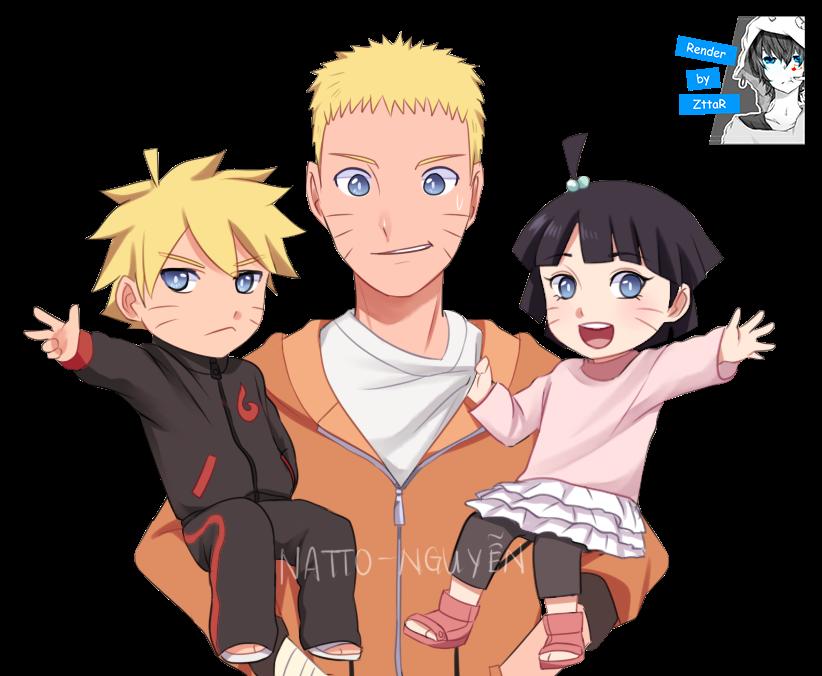 Render Naruto, Boruto and Himawari Uzumaki
