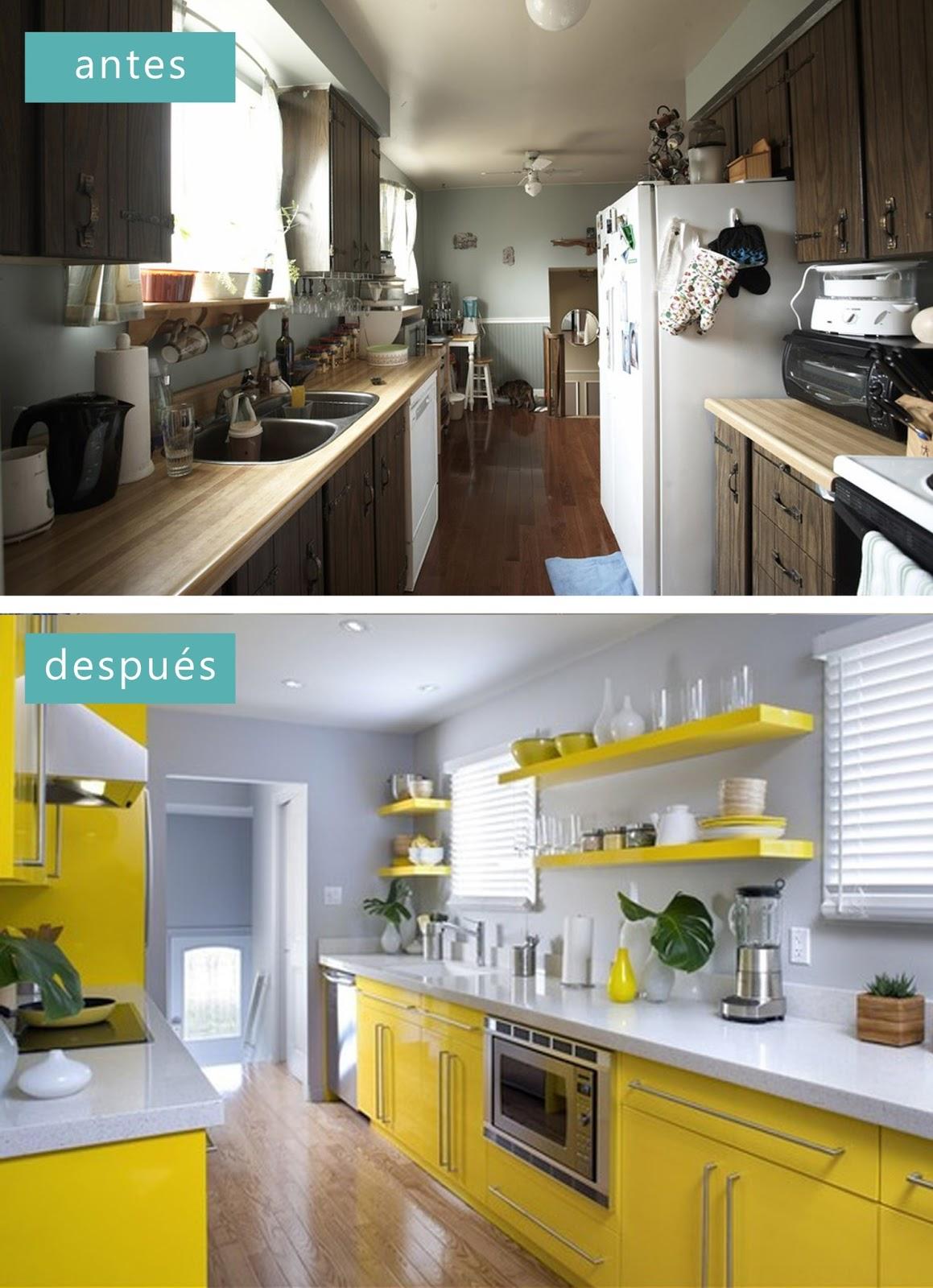 De una cocina apagada a una cocina llena de vida. Encimera blanca y